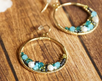 Gold tone hoop with encrusted bead work- Boho