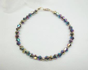 Black Rainbow Bracelet Black Bracelet Black Crystal Bracelet 14k Gold Filled Bracelet Crystal Jewelry BuyAny3+Get1Free