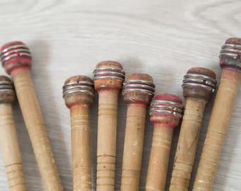 Vintage Wood Spools Set of 8 - Primitive Wool Mill Spools - Decorative Wood and Metal Decor