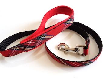 Red tartan dog lead