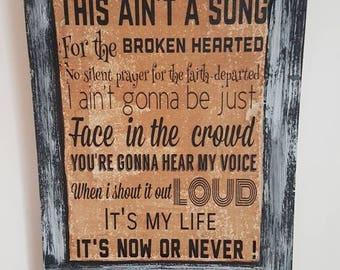 BON JOVI It's my Life Lyrics Retro Wall hanging sign