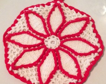 Red and White Vintage Hot Pad, Red and White Vintage Potholder, Red and White Retro Kitchen Decor