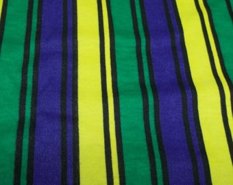 Vintage striped blue/green/yellow stretchy fabric Q1015 sewing costume making crafting project