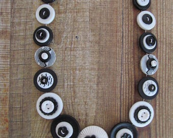 Button Necklace Black and White Button Necklace  Retro Vintage