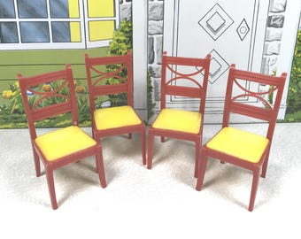 """RENWAL CHAIR SET of Four, 1950's, Hard Plastic, D53/K63 Kitchen and/or Dingroom, 3/4"""" Scale, Vintage Tin Dollhouse Furniture"""