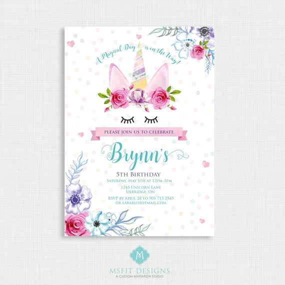Unicorn Party Invitation, Unicorn, Unicorn Birthday Invitation,  Birthday Party, Floral Party Invitation, Magical Party, Printable