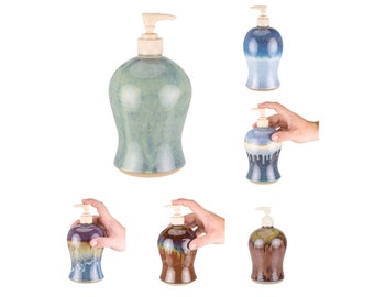 Hand Thrown Stoneware Soap Pump in your choice of Glaze. MADE TO ORDER (6wks) / pottery soap dispenser / ceramic soap pump / soap bottle
