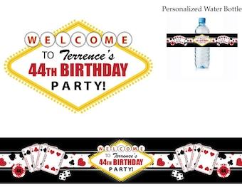 Las Vegas Casino Theme Birthday Party water bottle labels