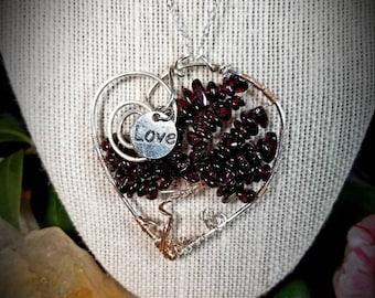 Garnet Rose Gold and Sterling Heart Pendant