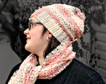 Crochet Pattern for Beanie Hat and Scarf Set, Adult Hat, Adult Beanie, Slouchy, Elegant Scarf