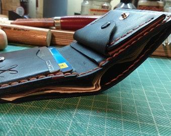 Slim Mens Wallet Minimalist -Slim Mens Wallet Minimalist-Front Pocket Bifold - Engraved Monogram Wallet -Personalized-thin wallet