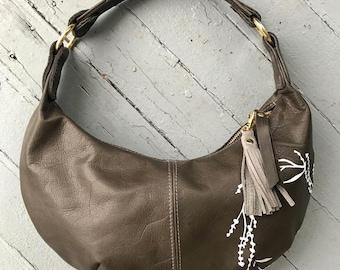 HOBO - gray leather purse - leather shoulder bag - gray leather bag - zipper bag - leather hobo with zipper - handmade hobo purse - handbag