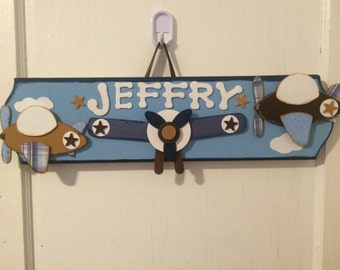 Custom Personalized Blue, Brown and Tan Airplane Name Plaque