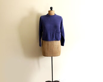 vintage sweater 90s blue cropped normcore 1990s womens clothing size small s