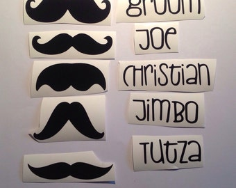 DIY Set of 5 Personalized Wedding Beer Glass Vinyl Decals/Stickers, Mustaches &  Ushers Names, Make Your Own Wedding Glasses