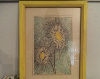 Vintage Signed Original Pencil Drawing ~ Daisies ~ Daisy ~ Yellow framed