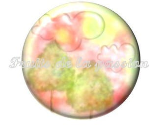 Set of 2 cabochon 16mm round glass tale, Alice