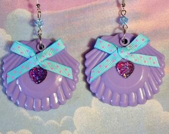 Shell earrings, seashell drop earrings mermaid jewelry lavender dangle seapunk vaporwave aesthetic drag queen jewelry