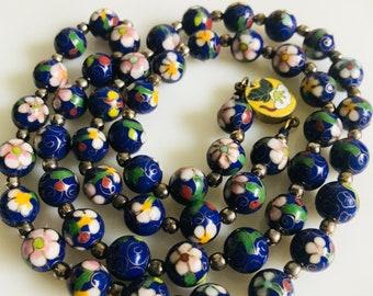 VINTAGE BLUE CLOISONNE / antique , flowers ,enamel necklace