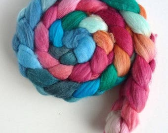 Merino/ Silk Roving (Top) - Handpainted Spinning or Felting Fiber, Spring Kiss
