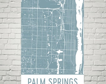 Palm Springs Map, Palm Springs Art, Palm Springs Print, Palm Springs FL Poster, Palm Springs Wall Art, Map of Palm Springs, Gift, Art Print