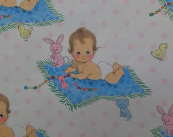 Vintage Bunny Chick Kitty Baby Shower Gift Wrap Wrapping Paper