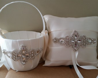 SALE - Wedding Flower Basket & Ring Bearer Pillow Set  - Style BKRP1012