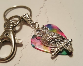 Guitar Pick KeyChain - Guitar Pick Jewelry - Tye Dye -  Owl Key chain - Owl Jewelry - Pick Key Chain