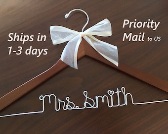 High quality hanger, personalized, wedding photos, hanger with sheer ribbon, name hanger, bridal hanger, bridesmaid hanger, hanger, bride