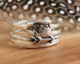 Stackable Arrow Ring Set - Sterling Silver - Heart Arrow Rings -  Arrow Stacking Rings, Stackable Ring - Valentine's Day Gift for her