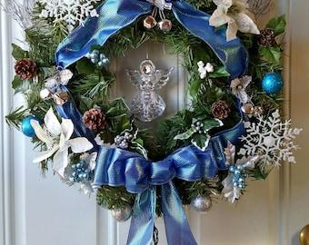 "20"" Artificial Evergreen Angel Christmas Wreath"