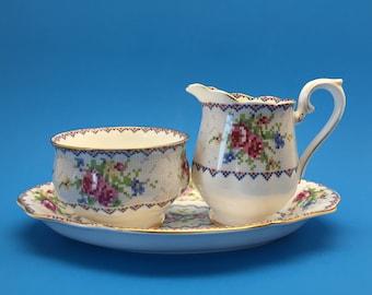 Royal Albert Petit Point Sugar Bowl, Creamer and Regal Tray Set, DISCOUNTED