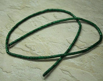 Green wood bead strand, jewelry supply, heishi, 24 inch strand