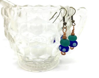 Two Lampwork glass beads, etched, copper Earrings