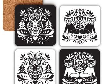 Coaster set // Scandinavian folk art coasters // monochrome coasters // forest friends coasters // drinks coasters // fox // owl
