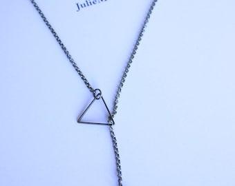 fine silver chain and triangle necklace