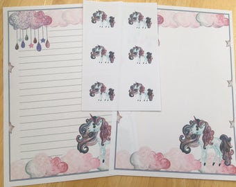 Unicorn Letter Writing Paper Set with 6 envelope seals