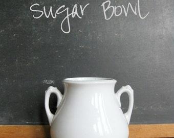 White Ironstone Sugar Bowl with Handle Detail, 1890s Sugar Jar, Antique Ironstone Sugar, No Lid, J&G Meakin Ironstone