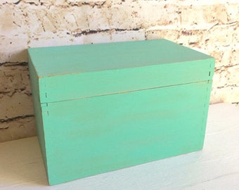 Vintage Green Chalk Paint Farmhouse Style Painted Wood Wooden Box Storage