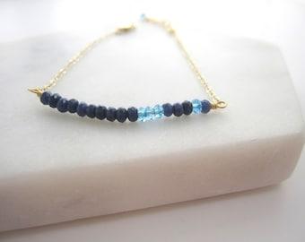 Blue Quartz Bracelet, Row Bracelet, Dainty Jewelry, Swiss Blue Topaz, Simple Jewelry, Asymmetrical, Sapphire Blue Stones