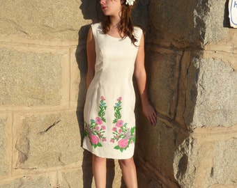 Vintage 60s Dress Mad Men Linen Wiggle Floral Spring Dress by Edith Flagg