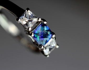 CLEARANCE  Unique Genuine Neptune Garden Topaz Square in an Accented Sterling Silver Setting