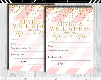 Advice and Well Wishes for the Mr and Mrs Instant Download Gold Glitter and Pink 129