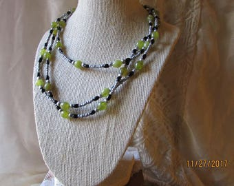 Serpentine, Obsidian and seed bead rope