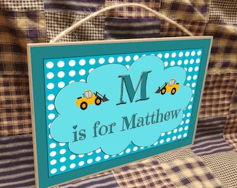 """Personalized Construction Name Kids Room Baby Nursery 7"""" x 10.5"""" SIGN Plaque  Decor Customized Custom"""