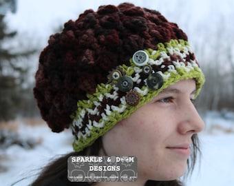 RTS Mirte Steampunk Hat, dark browns green cream crochet buttons gears ready to ship CrocheTrend