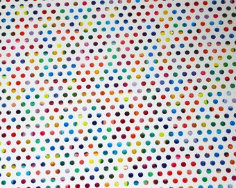 """Leather  5""""x11"""" Rainbow  POLKA DOTS on White Cowhide #644 3 oz / 1.2 mm PeggySueAlso™ E3455-01 Limited"""