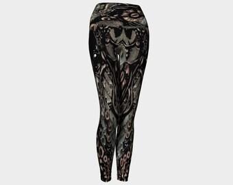 Steampunk yoga leggings, large waistband leggings, steampunk yoga pants, wearable art by Felicianation Ink