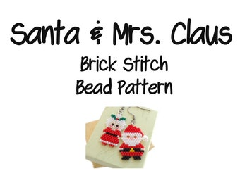 Santa & Mrs. Claus Beading Patterns, Brick Stitch Bead Weaving | DIGITAL DOWNLOAD