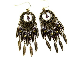 Brass Feather with Purple Crystal Chandelier Earrings Long Brass Feather Chandelier Earrings